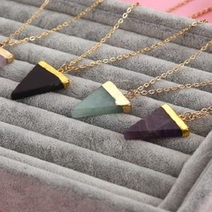 Triangle Stone Pendant Chain Necklace
